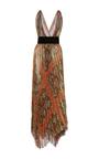 V Neck Pleated Leaf Lamé Gown by OSCAR DE LA RENTA for Preorder on Moda Operandi