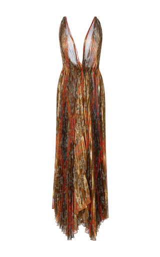 Medium oscar de la renta print v neck pleated leaf lame gown