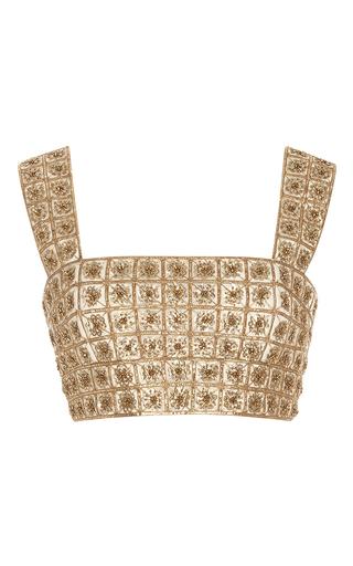 Medium oscar de la renta gold sleeveless square neck lame embroidered top