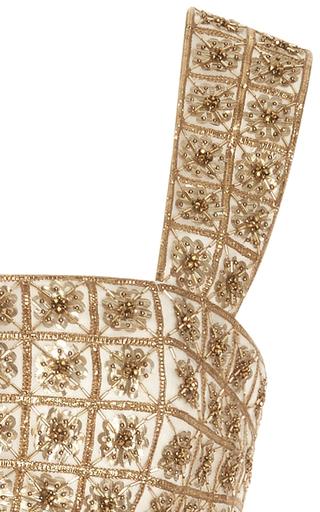 Sleeveless Square Neck Lamé Embroidered Top by OSCAR DE LA RENTA for Preorder on Moda Operandi