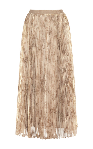 Tea Length Pleated Lamé Skirt by OSCAR DE LA RENTA for Preorder on Moda Operandi