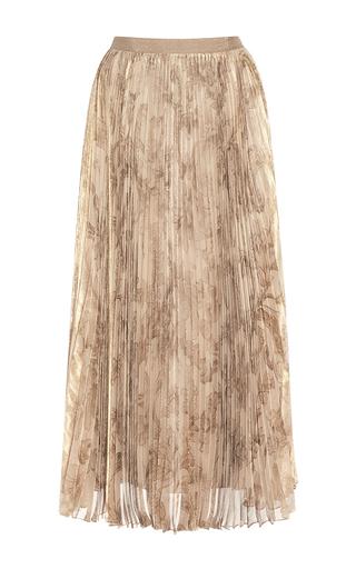 Medium oscar de la renta print tea length pleated lame skirt