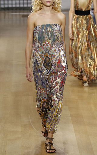 Strapless Paisley Medallion Lurex Gown by OSCAR DE LA RENTA for Preorder on Moda Operandi