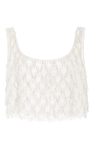 Medium oscar de la renta silver sleeveless bubble bead fringe top