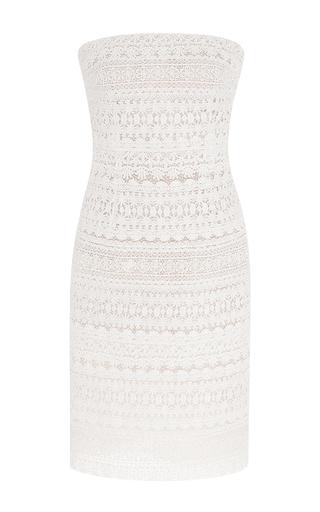 Medium oscar de la renta white strapless lace and pearl cocktail dress
