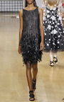 Sleeveless Bateau Neck Feather Dress by OSCAR DE LA RENTA for Preorder on Moda Operandi