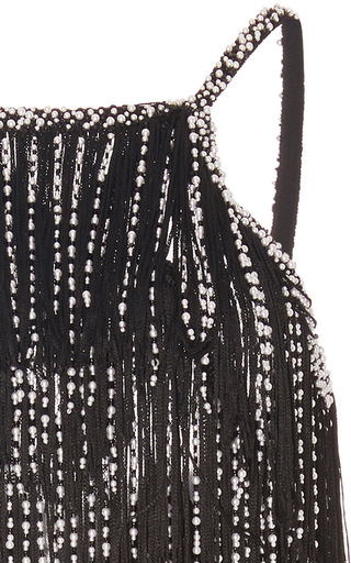 Sleeveless Halter Neck Fringe And Pearl Cocktail Dress by OSCAR DE LA RENTA for Preorder on Moda Operandi