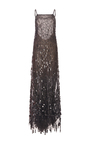 Sleeveless Halter Neck Sequin Fringe Embroidered Gown by OSCAR DE LA RENTA for Preorder on Moda Operandi