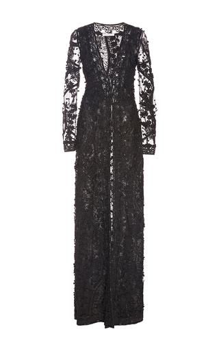 Long Sleeve V Neck Ribbon And Beaded Gown by OSCAR DE LA RENTA for Preorder on Moda Operandi