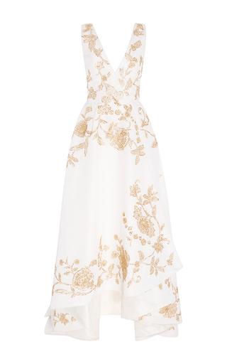 Medium oscar de la renta white sleeveless v neck lame high low gown