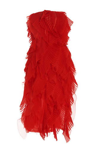 Medium oscar de la renta red strapless pleated ruffle dress