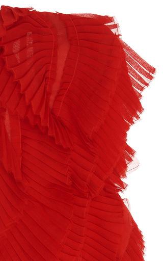 Strapless Pleated Ruffle Dress by OSCAR DE LA RENTA for Preorder on Moda Operandi