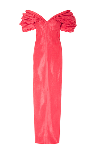 Draped Off The Shoulder Pleated Gown by OSCAR DE LA RENTA for Preorder on Moda Operandi