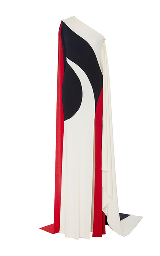 Swirl Off The Shoulder Front Slit Gown by NAEEM KHAN for Preorder on Moda Operandi