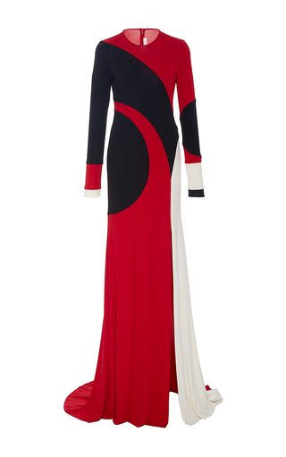 Medium naeem khan multi long sleeve swirl front slit gown
