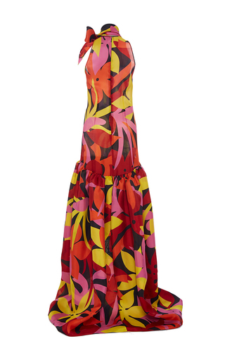 Drop Waist Floral Bow Gown by NAEEM KHAN for Preorder on Moda Operandi