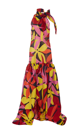 Medium naeem khan print drop waist floral bow gown