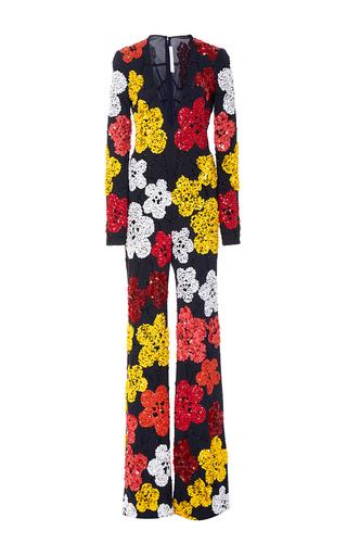 Beaded Floral Plunging V Neck Wide Legged Jumpsuit by NAEEM KHAN for Preorder on Moda Operandi