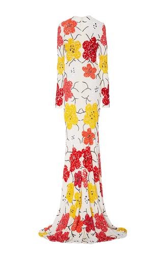 Beaded Floral Long Sleeve Sheath Gown by NAEEM KHAN for Preorder on Moda Operandi