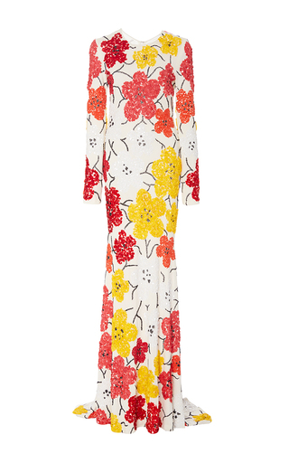Medium naeem khan multi beaded floral long sleeve sheath gown