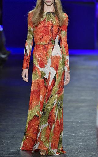 Long Sleeve Bateau Neck Beaded Sheath Gown by NAEEM KHAN for Preorder on Moda Operandi