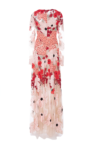 Long Sleeve Floral Embroidered And Bead Gown by NAEEM KHAN for Preorder on Moda Operandi