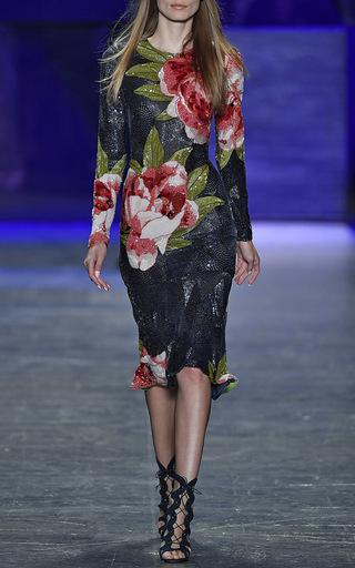 Long Sleeve Floral Beaded Midi Dress by NAEEM KHAN for Preorder on Moda Operandi