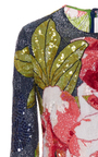 Long Sleeve Floral Beaded Gown by NAEEM KHAN for Preorder on Moda Operandi
