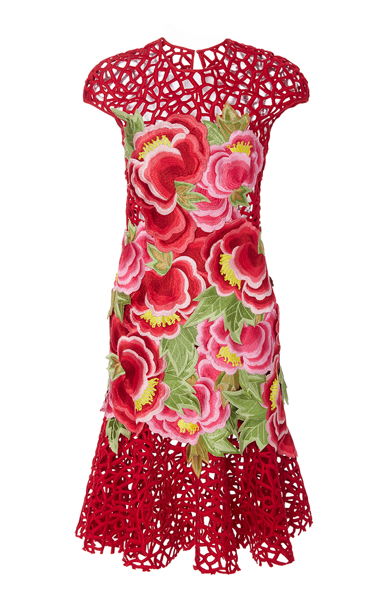 Floral embroidered crochet sheath mini dress by naeem