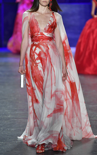 V Neck Watercolor Cape Gown by NAEEM KHAN for Preorder on Moda Operandi