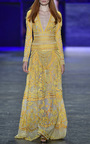 Long Sleeve Contrasting Embroidered Sheath Gown by NAEEM KHAN for Preorder on Moda Operandi