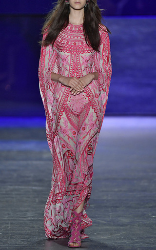 Contrasting Embroidered Bohemian Kaftan by NAEEM KHAN for Preorder on Moda Operandi