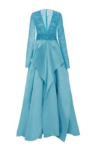 Medium naeem khan light blue beaded v neck panel gown