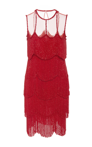 Medium naeem khan red sleeveless flapper fringe mesh neckline mini dress