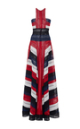 Color Block Halter Neck Fit And Flare Gown by NAEEM KHAN for Preorder on Moda Operandi