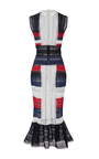 Color Block Flounced Hem Midi Dress by NAEEM KHAN for Preorder on Moda Operandi