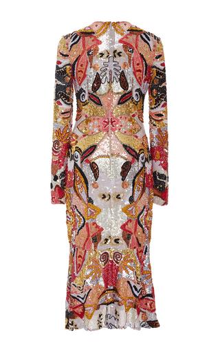 Long Sleeve Flounced Hem Sequin Midi Dress by NAEEM KHAN for Preorder on Moda Operandi
