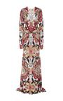 Long Sleeve Sheath Sequin V Neck Gown by NAEEM KHAN for Preorder on Moda Operandi