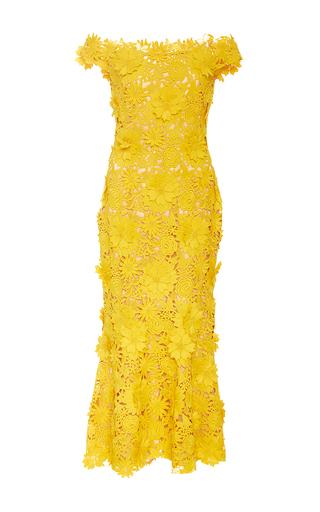 Medium naeem khan yellow off the shoulder dandelion sheath midi dress