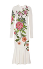 Embroidered Floral Detail Midi Fit And Flare Dress by NAEEM KHAN for Preorder on Moda Operandi