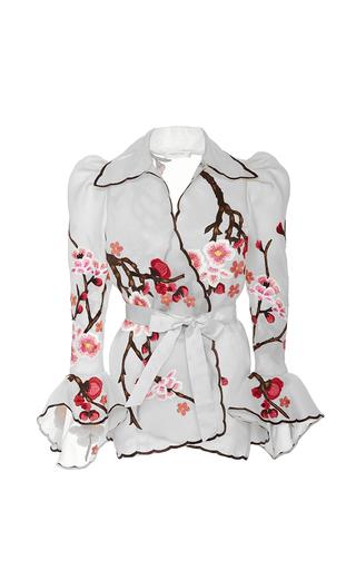 Medium naeem khan multi cherry blossom puff sleeve jacket
