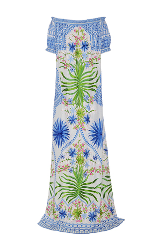 Off The Shoulder Floral Embroidered Maxi Dress by NAEEM KHAN for Preorder on Moda Operandi