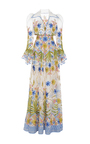 Garden Puff Sleeve Fit And Flare Gown by NAEEM KHAN for Preorder on Moda Operandi