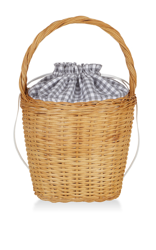 Medium edie parker light grey lily gingham basket tote