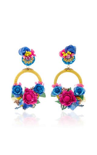 Medium ranjana khan multi multi large floral drop earrings