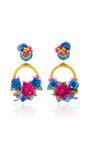 Multi Large Floral Drop Earrings by RANJANA KHAN for Preorder on Moda Operandi