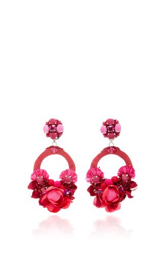 Pink Large Floral Drop Earrings by RANJANA KHAN for Preorder on Moda Operandi