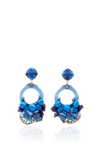 Blue Large Floral Drop Earrings by RANJANA KHAN for Preorder on Moda Operandi