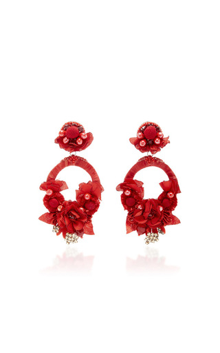 Red Large Floral Drop Earrings by RANJANA KHAN for Preorder on Moda Operandi