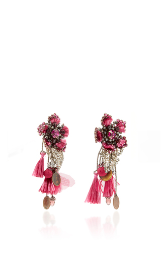 Pink Flower Earrings With Tassels And Vintage Coins by RANJANA KHAN for Preorder on Moda Operandi